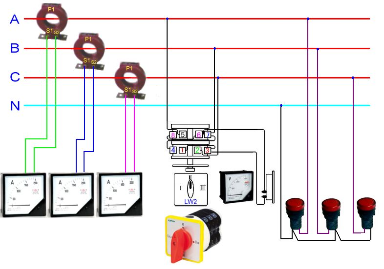 互感器,电流表,电压表的实物接线图
