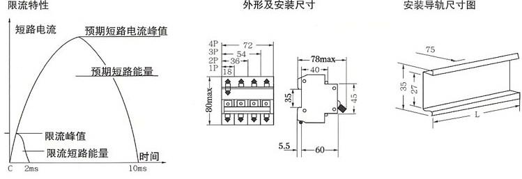 DZ47-63高分断小型断路器的外型及安装尺寸