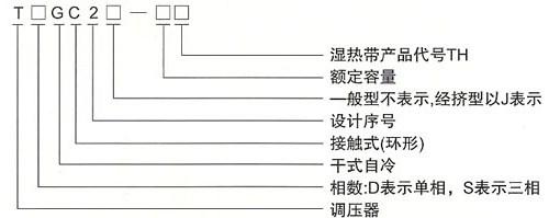 TDGC2、TDGC2J接触调压器的型号及含义