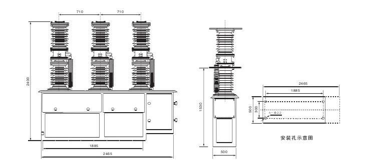ZW7-40.5断路器的外形及安装尺寸