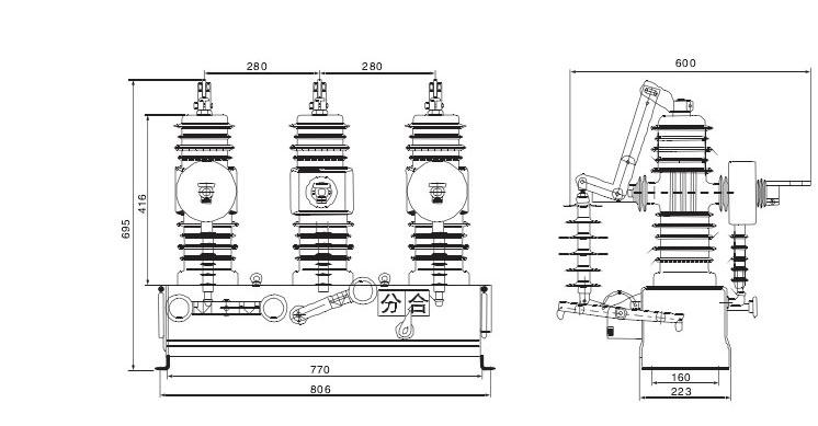 ZW43-12断路器的外形及安装尺寸