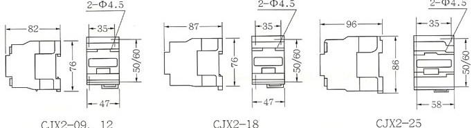 CJX2系列交流接触器的外型及安装尺寸1