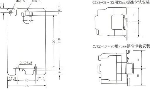 CJX2-40~95安装尺寸